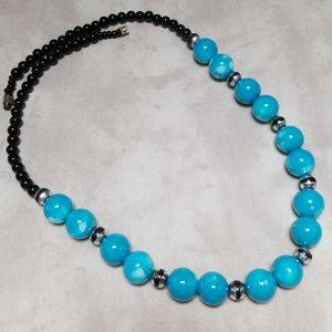 Vintage Glass Bead Necklace Beautiful Blue